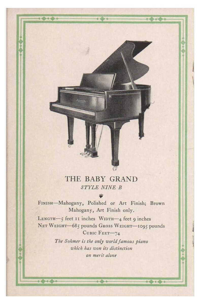Sohmer grand piano 9b 1920
