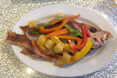 Edgartown Diner Caribbean Food Night Escovitch Fish, deep fried snapper served with peppers, pineapple and onions Martha's Vineyard Restaurants