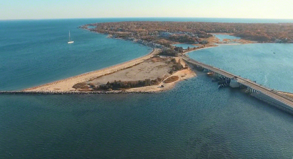 Martha's Vineyard Cottage City Oyster Farm Aerial View Off Eastville Beach And East Chop Oak Bluffs