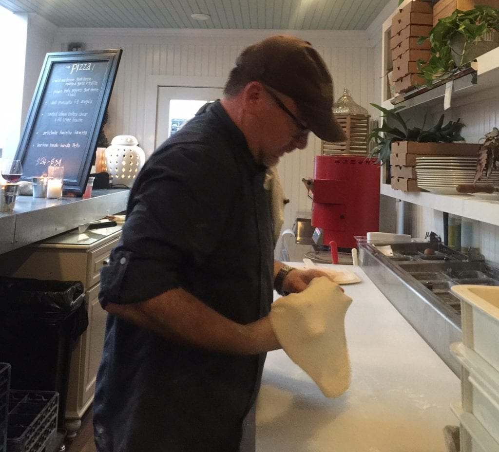 Atria Restaurant Owner/Chef Christian Thornton Making Pizzas At New Pizza