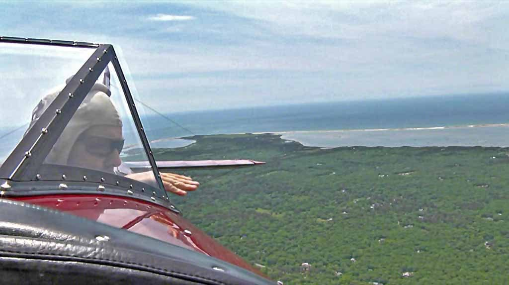 Classic Aviators Owner/Pilot Mike Creato Giving Aerial Tour Over Martha's Vineyard In Biplane