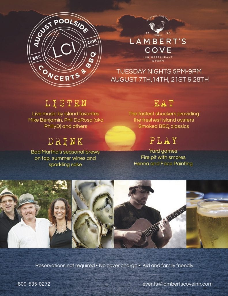 Lambert's Cove Inn Restaurant Farm Martha's Vineyard BBQ Dinner Special Poolside Music