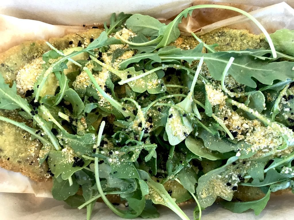 Not Your Sugar Mama's Brunch Vineyard Haven: flatbread with avocado, arugula, and cashew parmesan