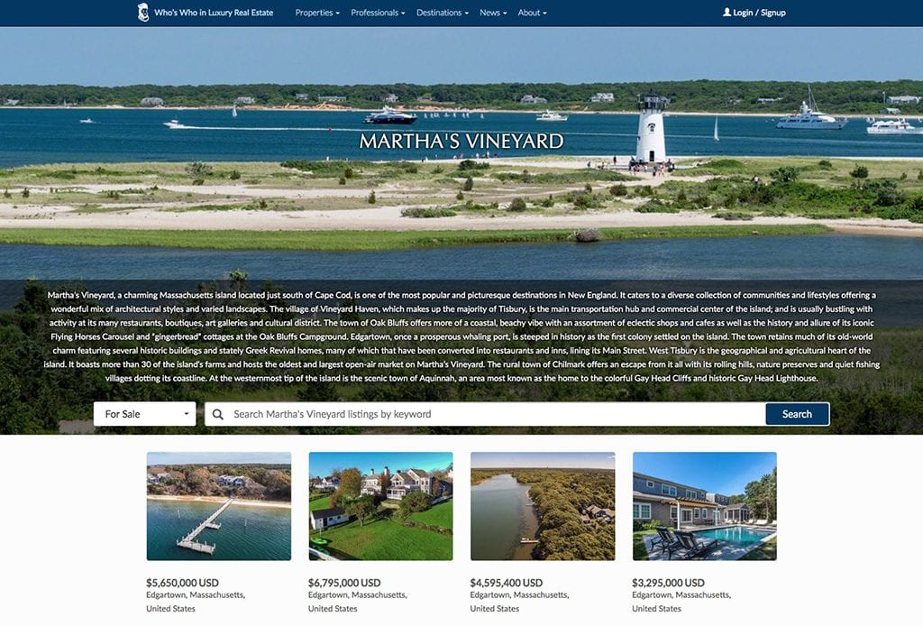 Who's Who In Luxury Real Estate Launches New Martha's Vineyard Destination Site On Luxury Real Estate.Com Website