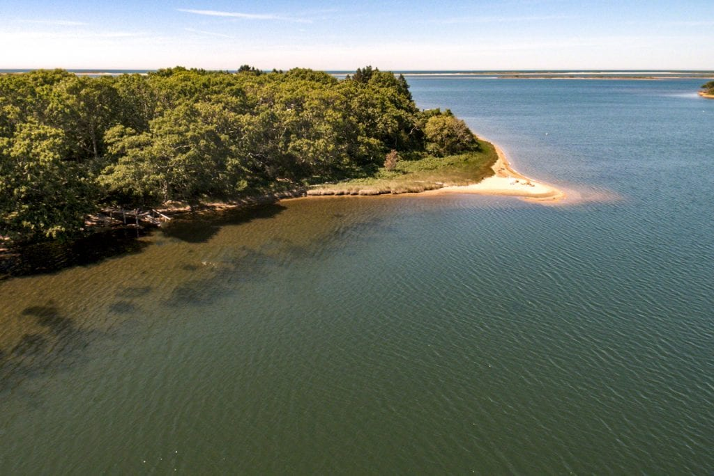 Edgartown Great Pond View Toward Barrier Beach And Atlantic Ocean 82 Turkeyland Cove Waterfront Home For Sale Martha's Vineyard