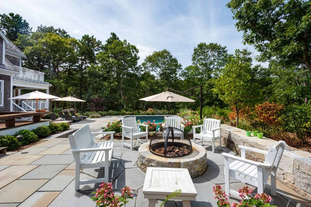 Outdoor Living Spaces Include Fire Pit Area, Dining Area, Lounge Areas And Heated Pool - Newly Listed Martha's Vineyard Vacation Rentals For Summer 2020