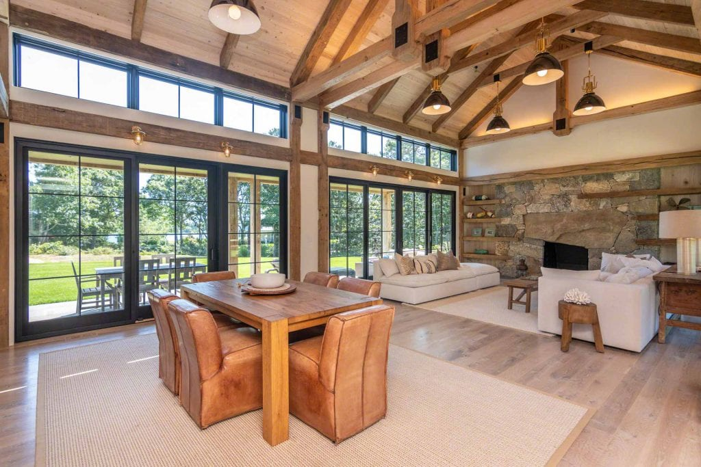 Great Room Features Vaulted Ceiling With Beams Water Views Of Katama Bay Martha's Vineyard Vacation Rentals Newly Listed Point B Rentals