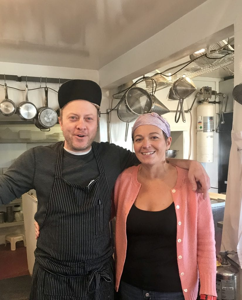 Chef Nathaniel Wade With Alex Taylor Cooking & Serving Lunch At The Outermost Inn Martha's Vineyard