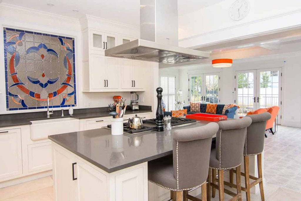 Luxurious Chef's Kitchen Has Center Cook Island With Commercial Appliances Martha's Vineyard Vacation Rentals Summer 2020 Point B Realty Exclusive Rental Listing EDG BVEL-96