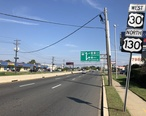 2018-10-01_11_14_23_View_west_along_U.S._Route_30_and_north_along_U.S._Route_130__Crescent_Boulevard__between_Camden_County_Route_629__North_Park_Drive__and_Central_Highway_in_Pennsauken_Township__Camden_County__New_Jersey.jpg