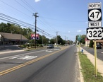 2018-08-26_14_31_16_View_west_along_U.S._Route_322_and_Gloucester_County_Route_536_and_north_along_New_Jersey_State_Route_47__Delsea_Drive__at_Gloucester_County_Route_689__New_Street__in_Glassboro__Gloucester_County__New_Jersey.jpg