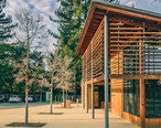The_Portola_Valley_Library_--_Designed_by_Goring___Straja_with_Siegel___Strain_-wood_-sustainable_-leed_-design_-architecture_-landscape_-path_-tree_-library_-redwood_-evening_-glow__12243581666_.jpg