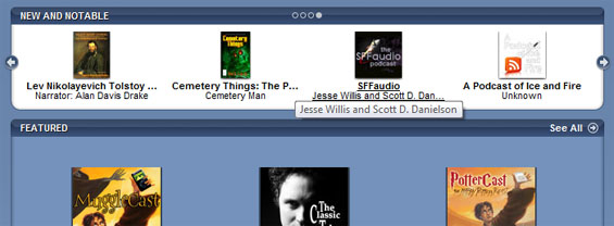 iTunes Podcasts New & Notable features The SFFaudio Podcast