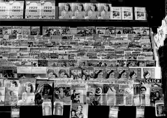 A 1938 newstand full of pulp magazines