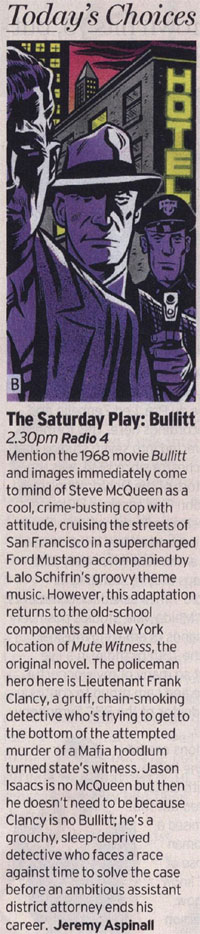 Radio Times - Bullitt (BBC Radio 4 Saturday Play) by Jeremy Aspinall