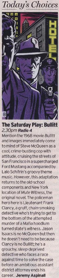 Radio Times - Bullitt (BBC Radio 4 Saturday Play) by Jeremy Aspinall