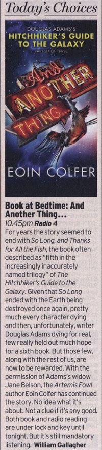 Radio Times - Today's Pick - And Another Thing... (William Gallagher)