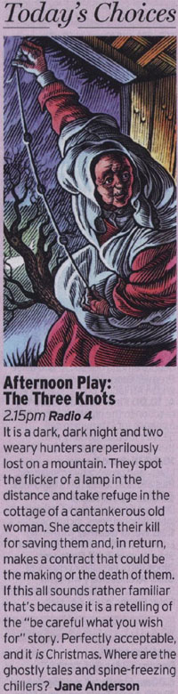 Radio Times - Afternoon Play: The Three Knots - reviewed by Jane Anderson