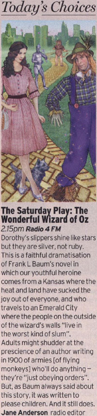 Radio Times - The Saturday Play - The Wonderful Wizard Of Oz reviewed by Jane Anderson