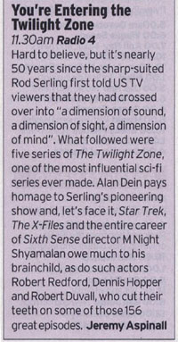 You're Entering The Twilight Zone (Radio Times - Jeremy Aspinall)