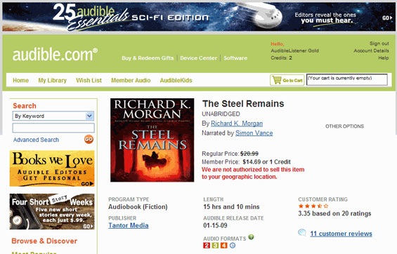 No Steel Remains (by Richard K. Morgan) - Audible.com