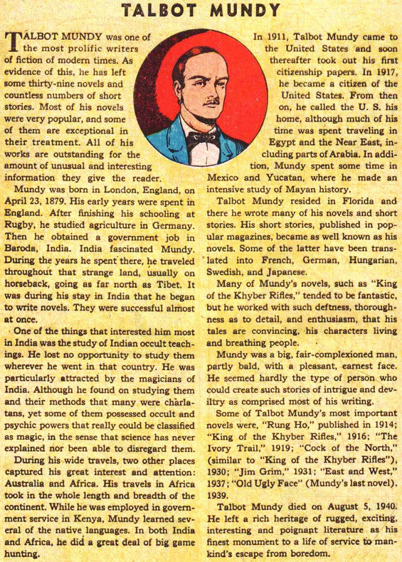 Classics Illustrated's Talbot Mundy biography