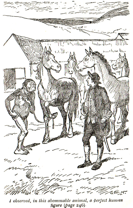 From Chapter 2 - A Voyage To The Country Of The Houyhnhnms (Gulliver's Travels) illustrated by George Morrow