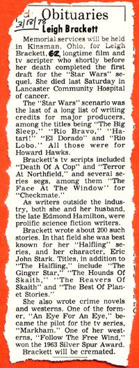 Leigh Brackett's Obituary
