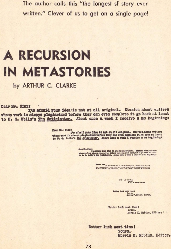 A Recursion In Metastories by Arthur C. Clarke (Galaxy SF, October 1966 - Page 78)