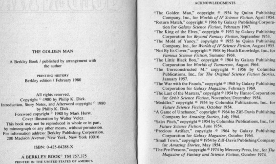 Acknowledgements page from The Golden Man