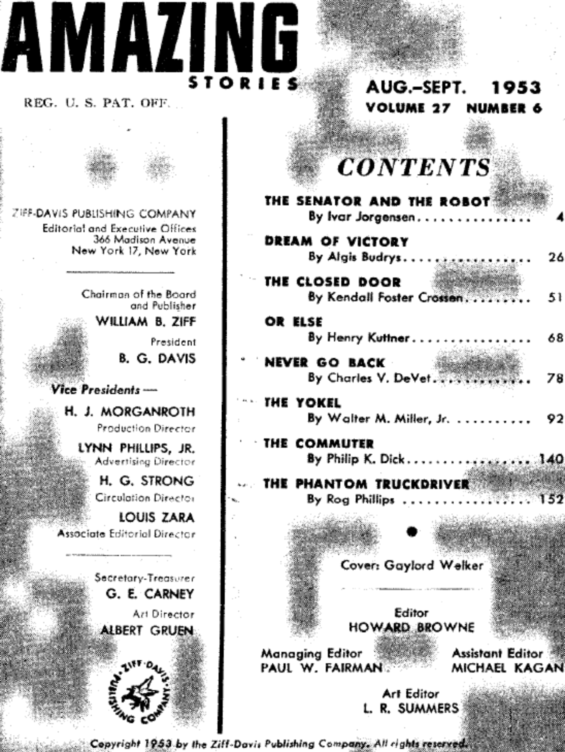 Table of contents from Amazing Stories, August September 1953 (includes The Commuter by Philip K. Dick)