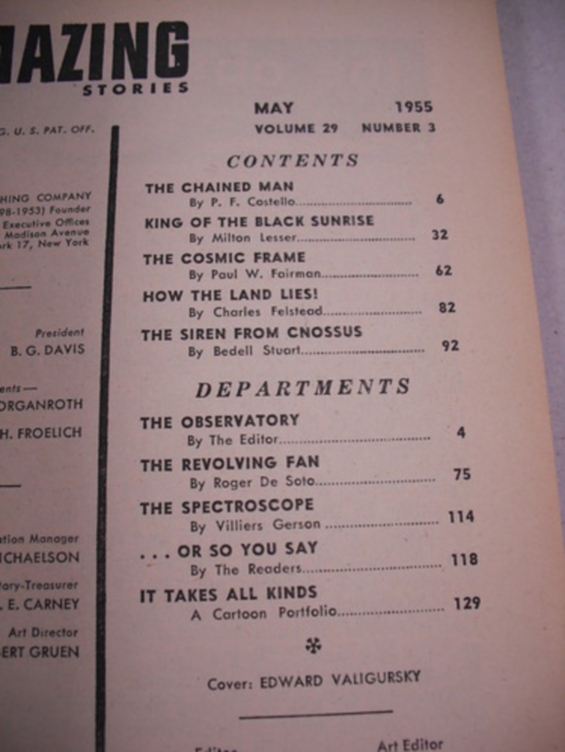 Amazing Stories, May 1955 - table of contents