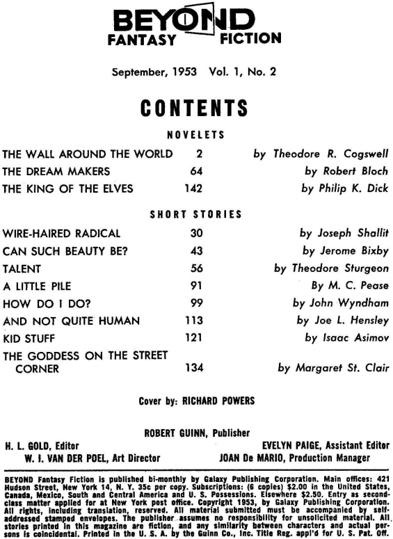 Beyond Fantasy Fiction - Table Of Contents - September 1953 (includes King Of The Elves)