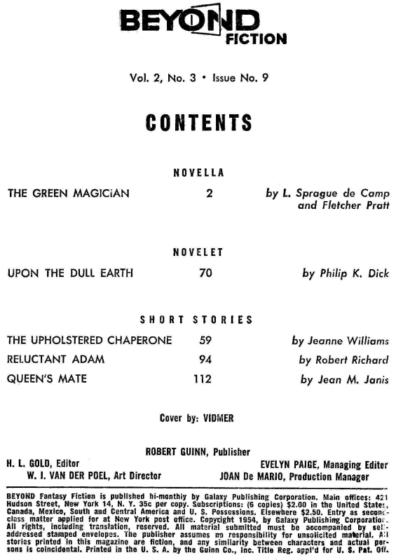 Beyond Fiction Volume 2 Number 3 Issue 9 - Table Of Contents (includes Upon The Dull Earth)