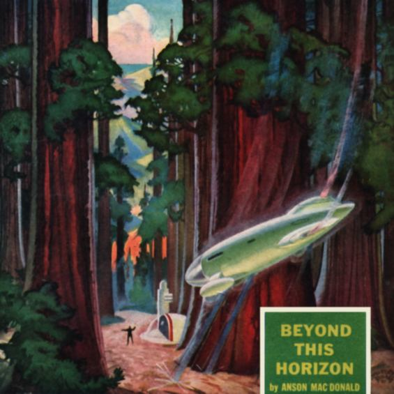 Beyond This Horizon - cover illustration by Hubert Rogers