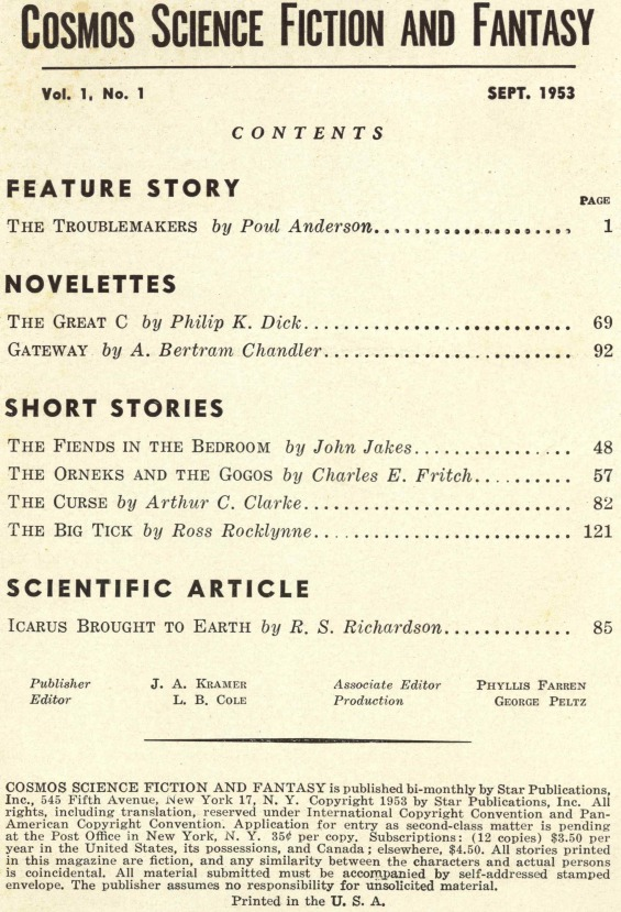 Cosmos Science Fiction And Fantasy - September 1953 (includes The Great C by Philip K. Dick)