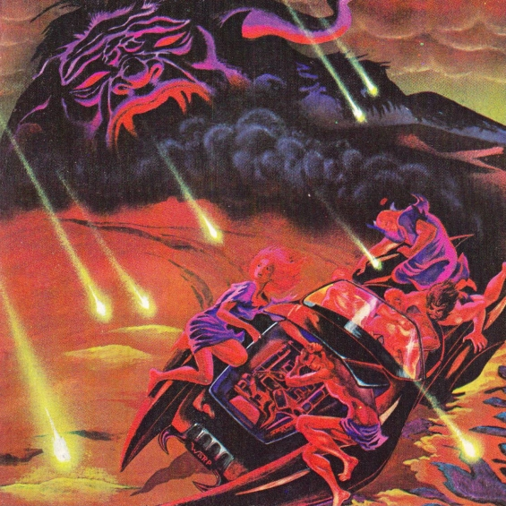 Cover for Galaxy, October 1975 - Illusted by Richard Pini and Wendy Pini (INFERNO by Larry Niven and Jerry Pournelle)