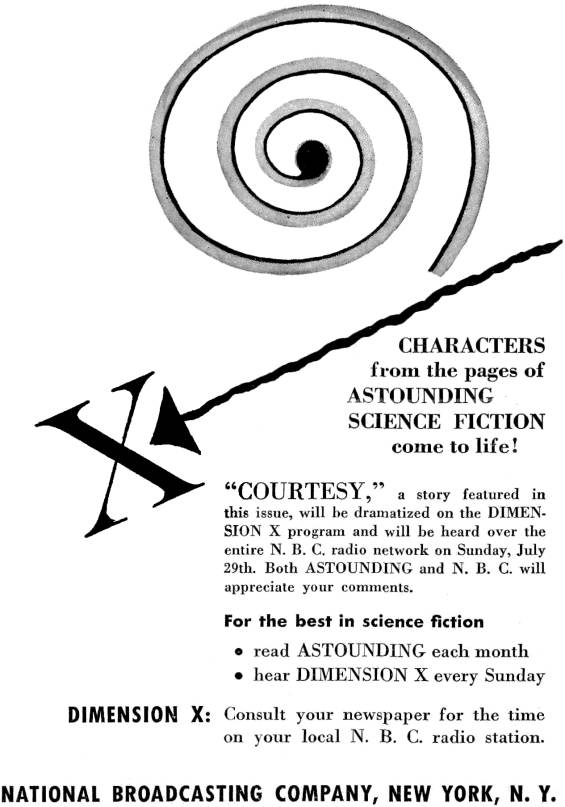 Dimension X ad from Astounding SF's August 1951 issue