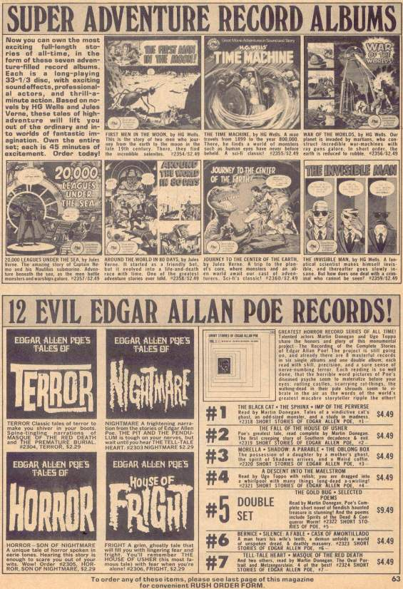 Eerie magazine ad from 1975 - 12 Evil Edgar Allan Poe Records!