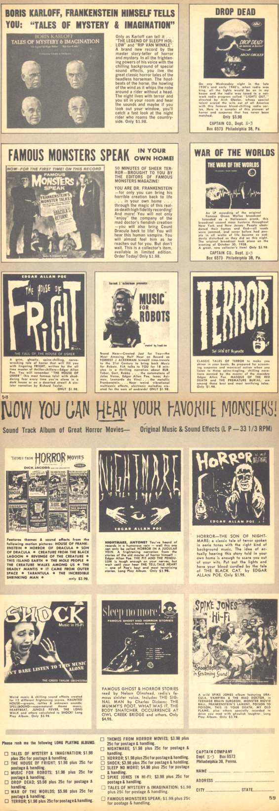 Eerie magazine ad from 1966 - Now You Can Hear Your Favorite Monsters
