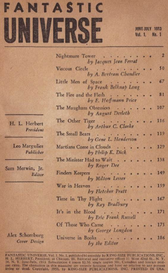 Table of contents for Fantastic Universe's June-July 1953 issue (includes Martians Come In Clouds by Philip K. Dick)