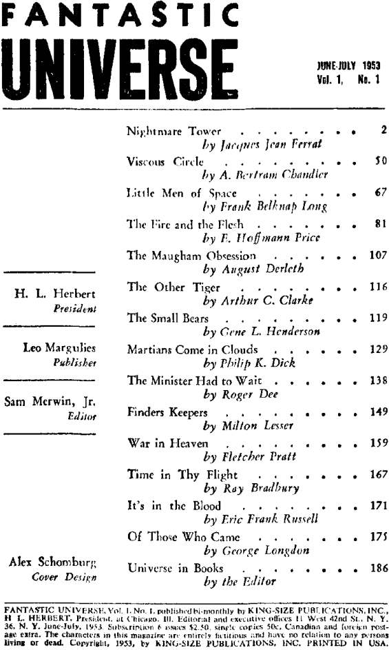 Table of Contents - Fantastic Universe, June - July 1953 - Martians Come In Clouds by Philip K. Dick