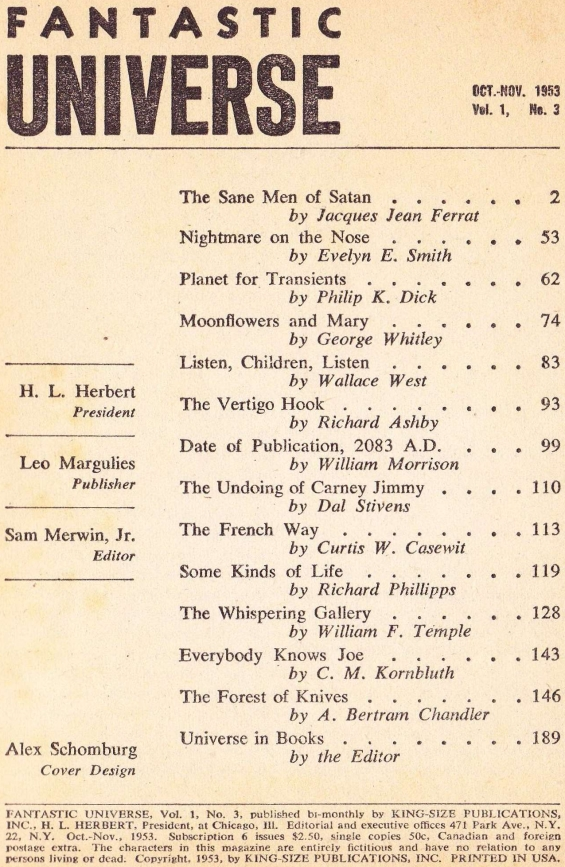 Fantastic Universe October 1953 - Table Of Contents (includes Planet For Transients by Philip K. Dick)