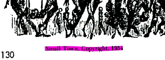 Detail from the April 1967 issue of Amazing Stories, showing that Small Town was copyrighted in 1954