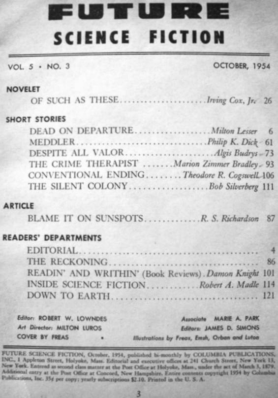 Future Science Fiction October 1954 - table of Contents - includes Meddler by Philip K. Dick