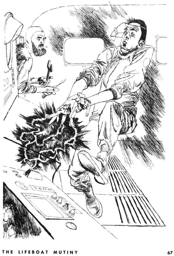 Galaxy April 1955 - The Lifeboat Mutiny - Illustration by Kossin