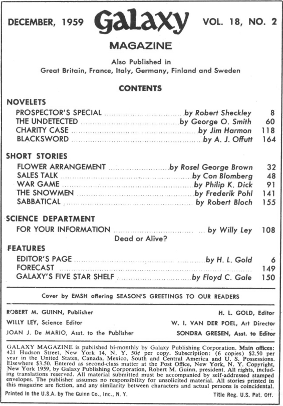 Galaxy Science Fiction, December 1959 - Table Of Contents (Includes War Game by Philip K. Dick)