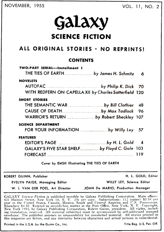 Galaxy November 1955 - Table Of Contents - includes Autofac by Philip K. Dick