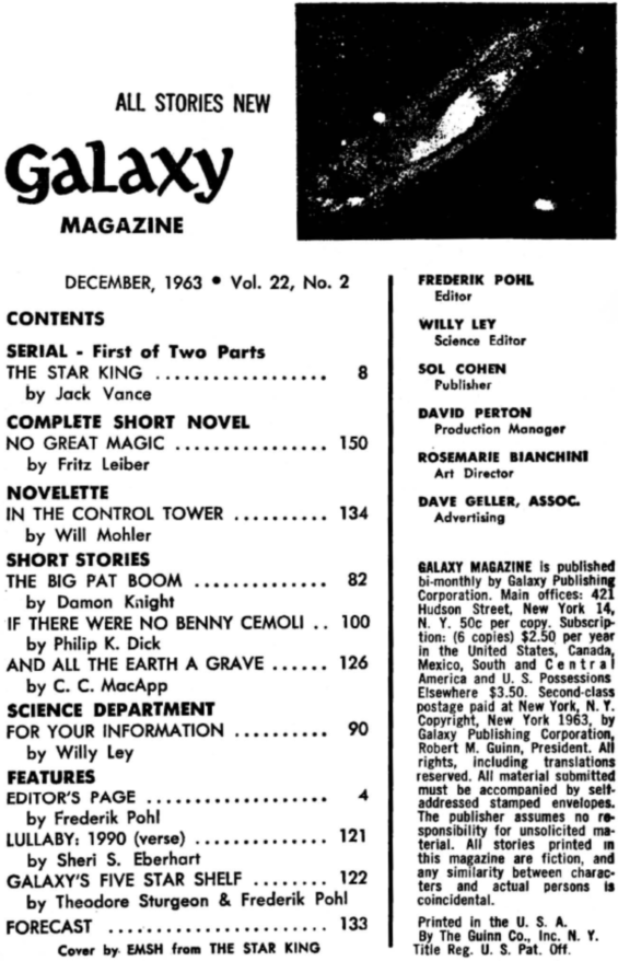 Galaxy Science Fiction December 1963 (includes IF There Were No Benny Cemoli by Philip K. Dick)