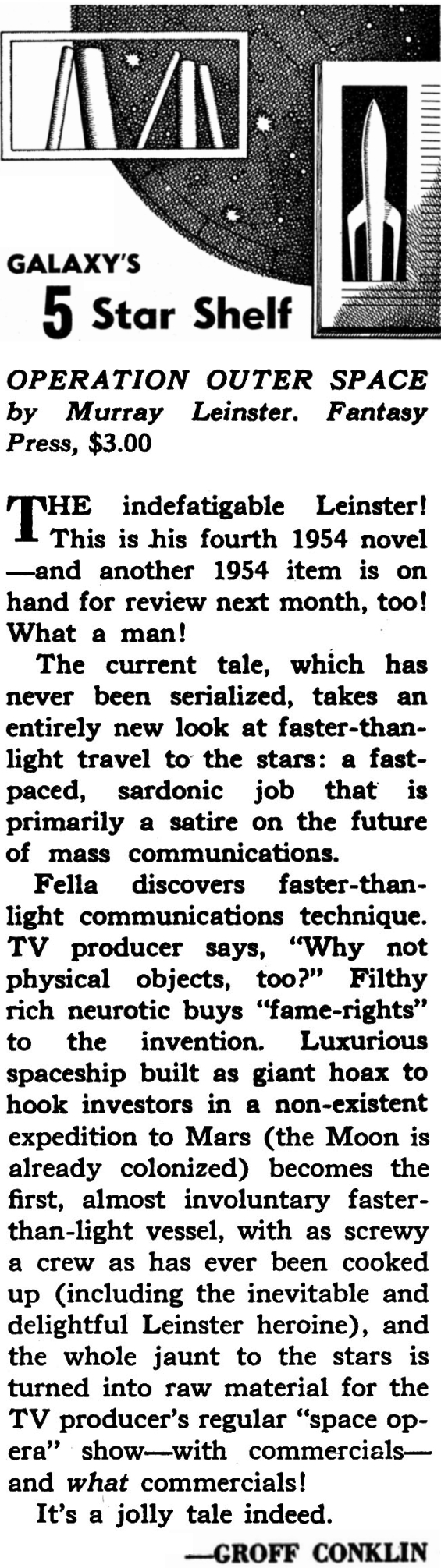 Groff Conklin's review of Operation: Outer Space from Galaxy Magazine's March 1955 issue